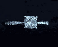 """Chunky"" Cushion Cut Diamond with Pave Ring Band"