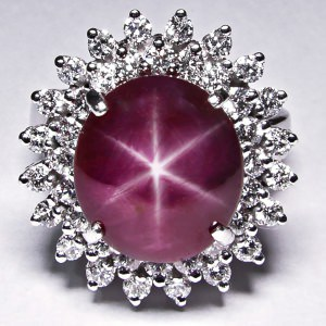 Oval Created Pink Star Ruby Ring on Symmetrical Flower Band Polished or Antique