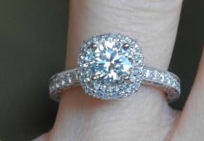 1 Ct. Round Diamond with Halo Setting and Pave Band