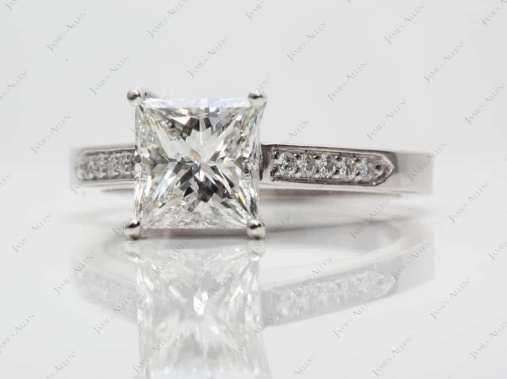 Platinum Single Claw Prong Pave Set Diamond Engagement Ring, 1.74 Carat I VVS1 Very Good Cut Diamond
