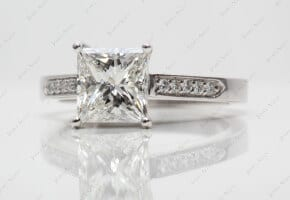 Platinum Single Claw Prong Pave Set Princess Diamond Engagement Ring