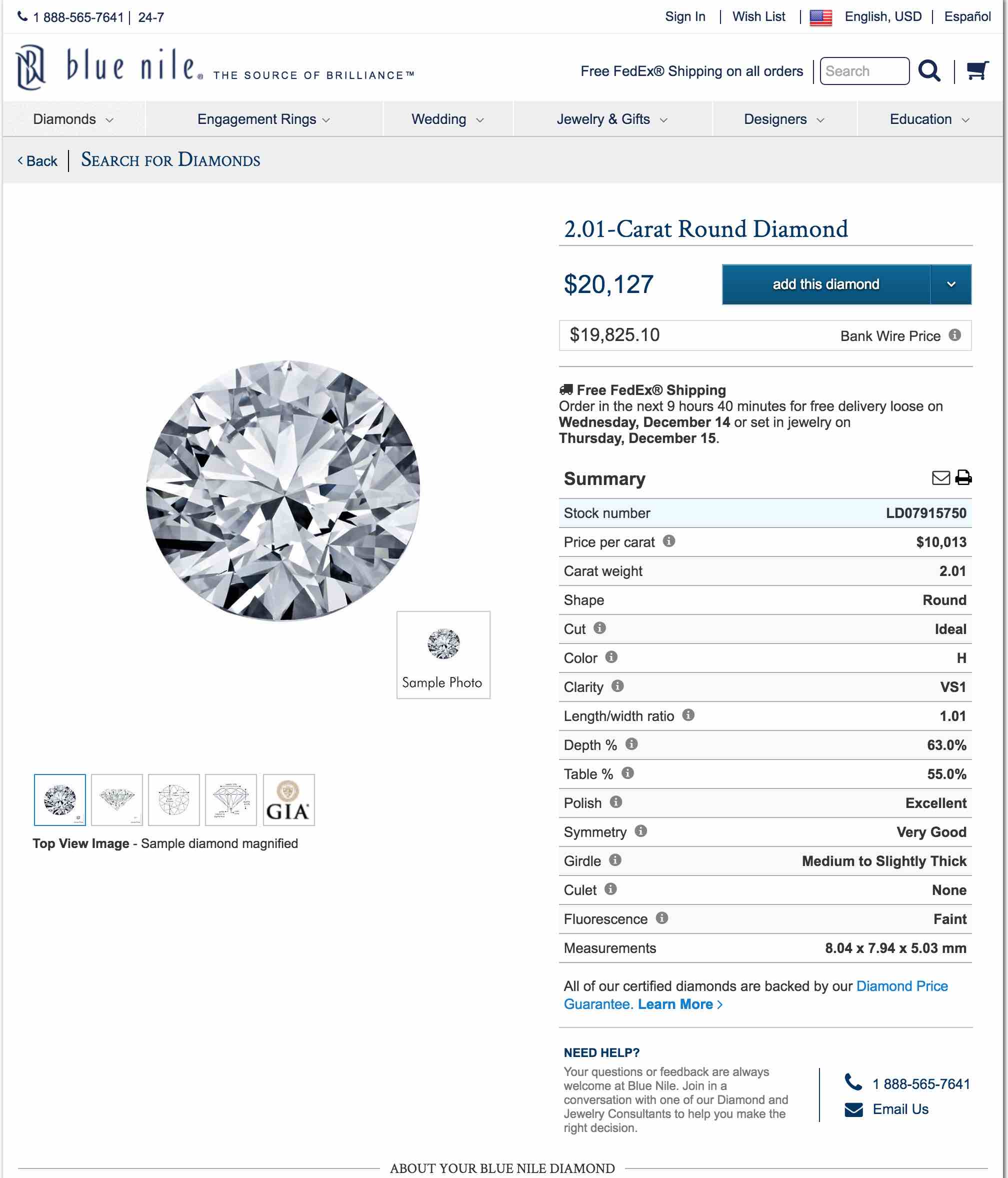 A 2.01 - Carat Round Diamonds listed on Blue Nile at a cheaper price of $20,127
