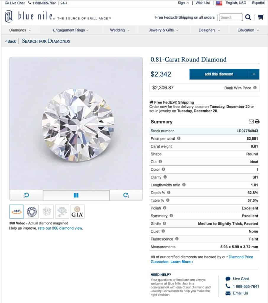 Blue Nile Diamond Page