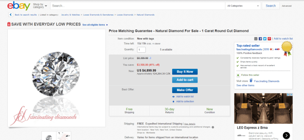 A product page on eBay with a stock image of Diamond for sale