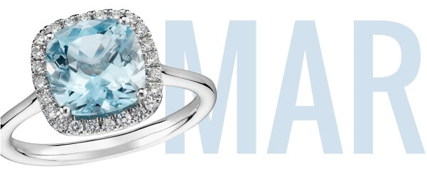March Birthstone Aquamarine Ring with 'Mar'