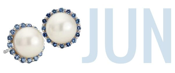 June's birthstone Pearl set in stylish earrings with 'Jun' in the background