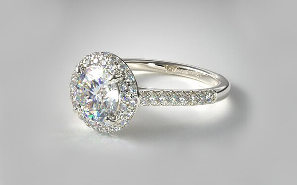 falling edge pave diamond engagement ring halo
