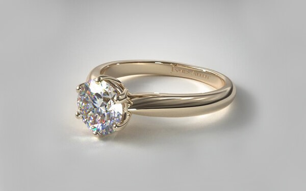 modern tulip diamond ring set in 14k yellow gold
