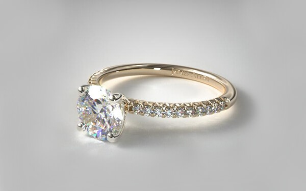 petite pave engagement ring with 14k yellow gold