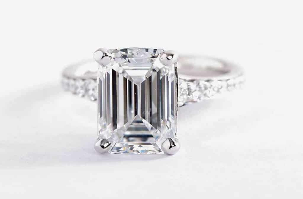 3.12 Carat E Color VVS2 Clarity Emerald Cut Diamond Ring