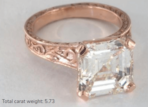 5 Carat Diamond Engagement Ring in Rose Gold