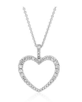14k White Gold DIamond Open Heart Pendant for Mom