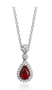 Pear Shape Ruby and Diamond Halo Pendant for Mom