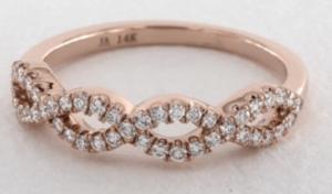 14K Rose Gold Pave Infinity Diamond Wedding Ring