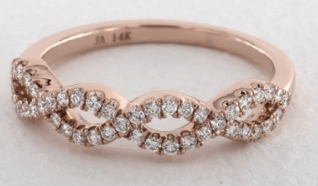 14K Rose Gold Pave Infinity Diamond Wedding Ring