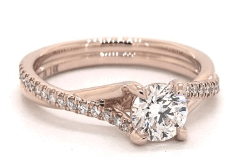 14 k Rose Gold Pave Engagement Ring