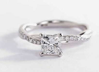 Petite Twist Diamond Engagement Ring with Princess Cut Diamond