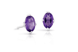 Oval-cut Amethyst Gemstone Earrings