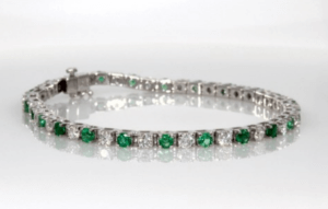 Emerald & Diamond Bangle Gemstone Bracelet