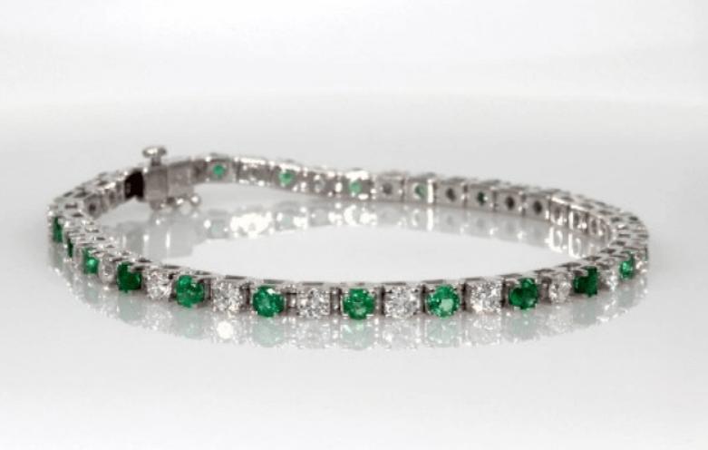 Emerald & Diamond Bangle Gemstone Bracelet