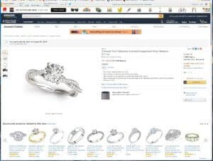 Screenshot of Allurez's Diamond Twist Sidestone Accented Engagement Ring product listing on Amazon
