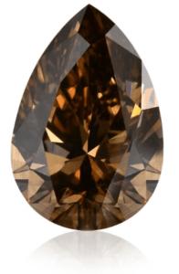 1.04 carat, Fancy Dark Orangy Brown, Pear shaped Champagne Diamond