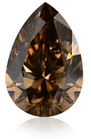 1.04 carat, Fancy Dark Orangy Brown, Pear shaped Champagne Diamond
