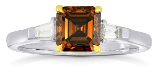 Fancy Dark Orange Brown Diamond Emerald Side Stone Ring