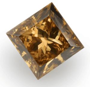 Fancy Orange Brown Diamond, Princess Shape