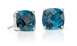 Blue Topaz Cushion Push Present Earrings