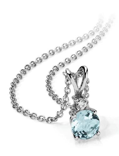 18k White Gold Aquamarine and Diamond Solitaire Pendant