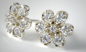 Push Present Diamond Flower Earrings