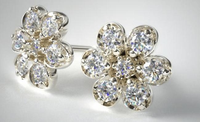 Push Present Diamond Flower Earrings