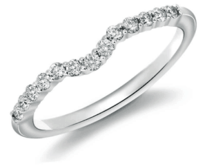Classic curved Wedding Ring with Diamonds