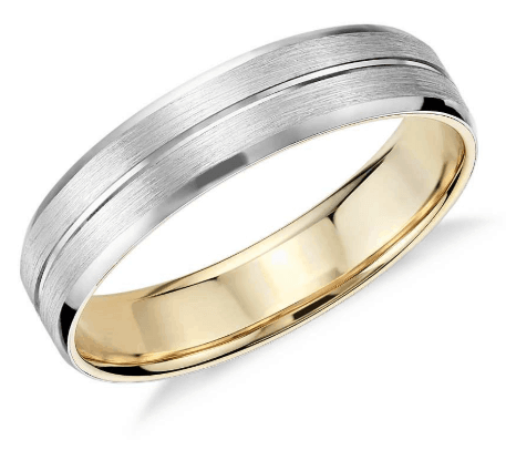 Matte Inlay Wedding Ring in Platinum and 18K Yellow Gold