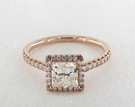 Princess Cut Diamond with Rose Gold Ring