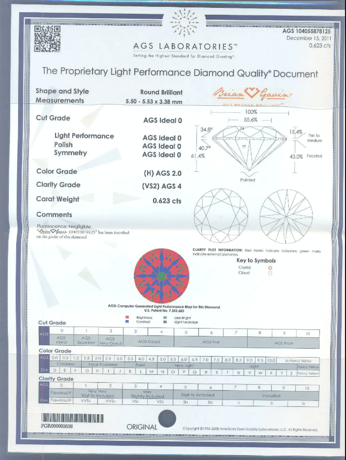 AGS Certificate of 0.62ct H VS2 Diamond