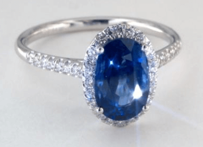 3.17ct Blue Sapphire Oval Cut in Halo Setting