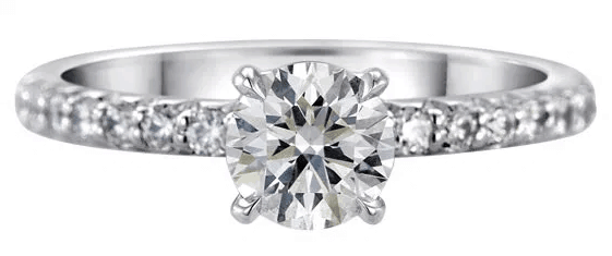 0.62ct H VS2 Brian Gavin Signature in Platinum Pave Setting Diamond Ring