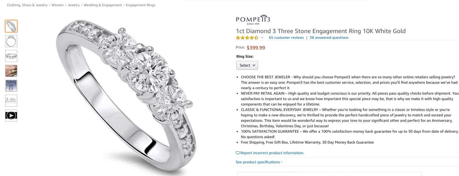 three-stone diamond engagement ring from Amazon