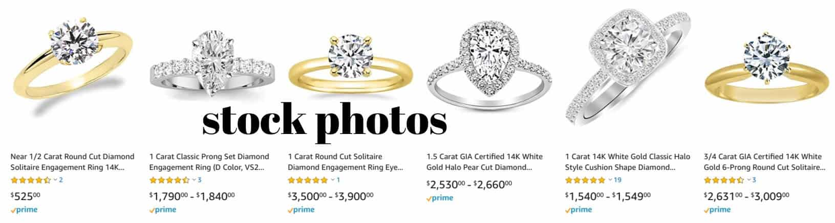 stock photos of diamond engagement rings sold on Amazon