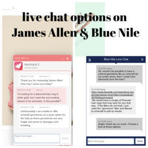 live chat on engagement rings with Blue Nile and James Allen