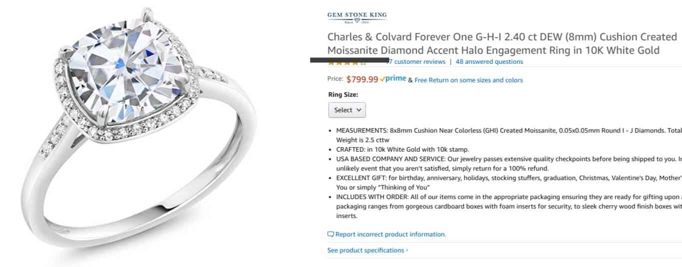 Amazon diamond engagement ring that is actually moissanite
