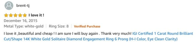 Amazon review of a diamond engagement ring
