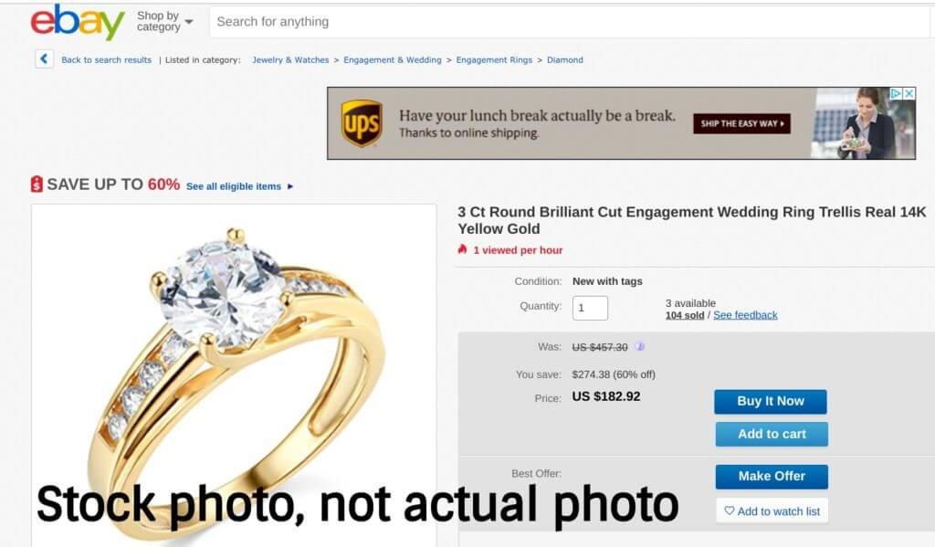 eBay diamond is a stock photo not actual photo of diamond
