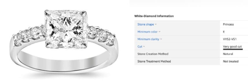 Amazon diamond engagement ring that has a very good cut instead of the preferred excellent or ideal cuts