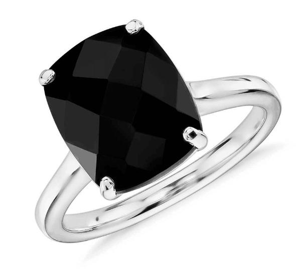 Black Onyx Cushion Cocktail Ring
