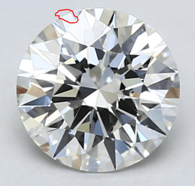 SI1 eye-clean diamond from Blue Nile small feathers
