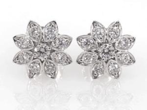 14K White Gold Divine Lotus Flower Earrings