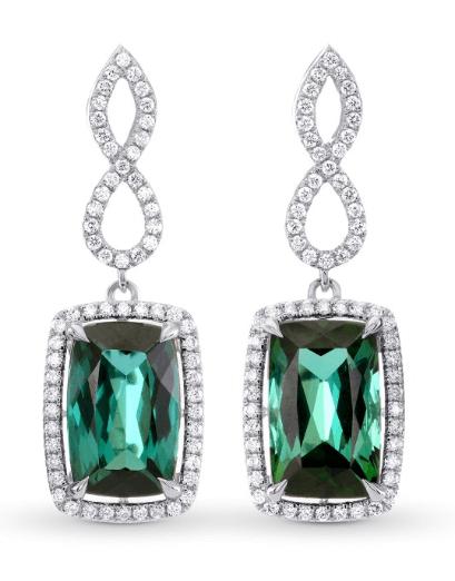 Green Tourmaline & Diamond Drop Earrings